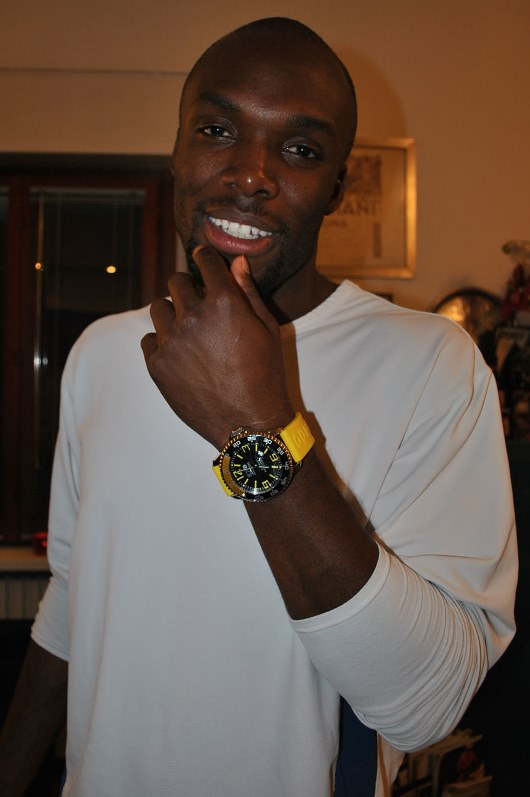 LaShawn Merritt Sporting his 3H Steel Diver